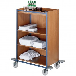 Chambermaid trolley medium blue/beech, small Standard