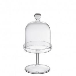 Cloche Glas on stand h 21 cm