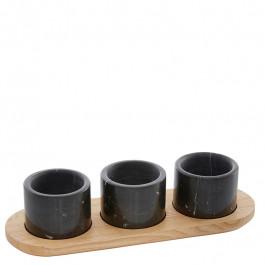 Menage wood (ashwood) 30 cm with 3 marble bowls black Ø7,6 cm